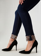 Charlie B - Jeans coupe moderne à ourlet léopard, Bleu