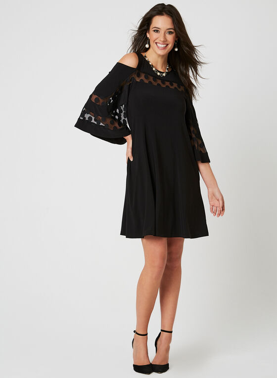 Nina Leonard - Cold Shoulder Dress, Black, hi-res