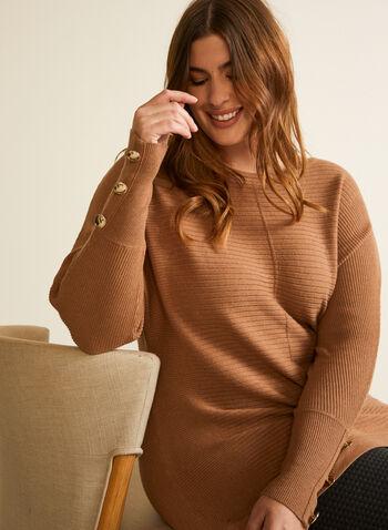 Pull à manches dolman et boutons, Brun,  manches longues, tricot texturé, détail boutonné, boutons, automne hiver 2020
