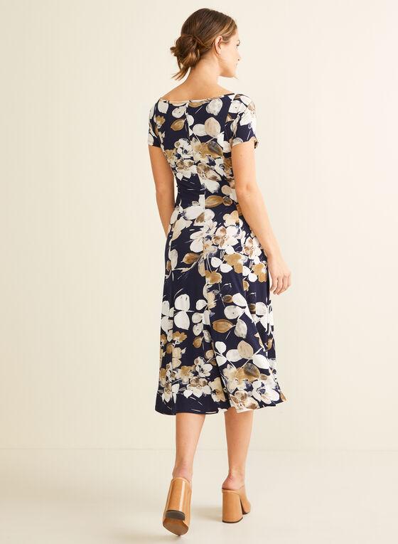 Robe florale à détail ceinture, Bleu