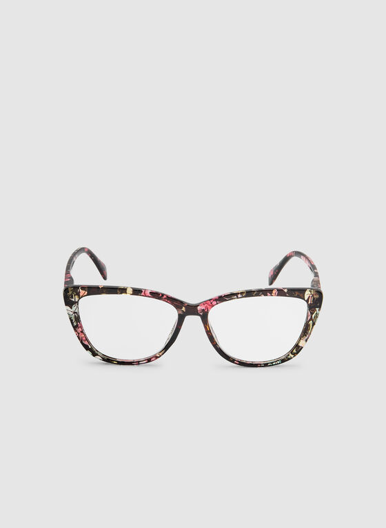 Floral Print Cat Eye Glasses, Black, hi-res