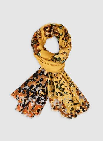 Foulard léger fleuri, Jaune,  foulard, fleuri, oblong, automne hiver 2019