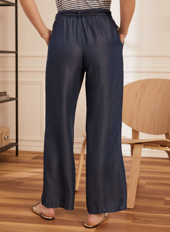 Wide Leg Fluid Denim Pants, Blue