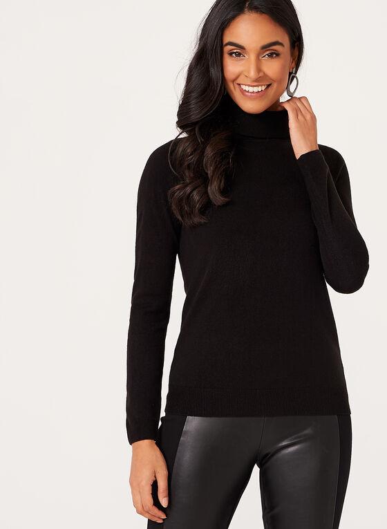 Pull tricot à col roulé côtelé, Noir, hi-res