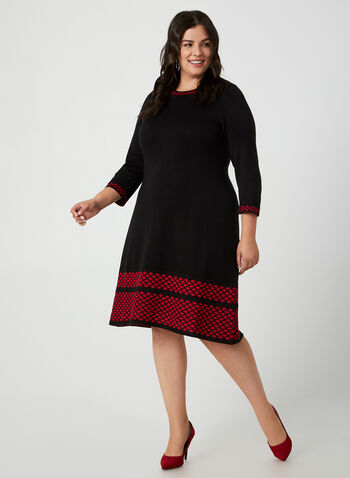 Fit & Flare Sweater Dress, Black, hi-res,  dress, day dress, knit, 3/4 sleeves, long sleeves, fit and flare, fall 2019, winter 2019