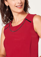 Metallic Detail Sleeveless Top, Red, hi-res