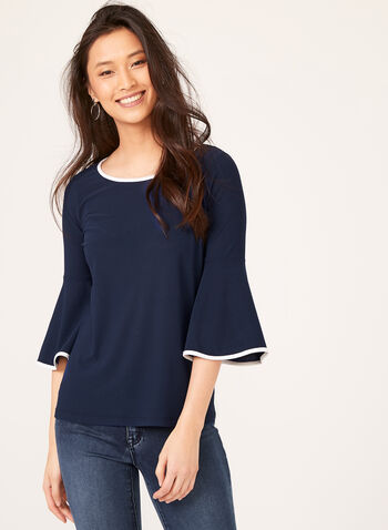 Bell Sleeve Crepe Top, Blue, hi-res