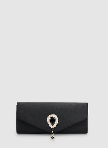 Satin Envelope Clutch, Black, hi-res,  teardrop, crystal, spring 2019
