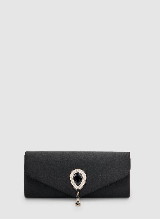 Pochette enveloppe satinée à détail goutte, Noir, hi-res