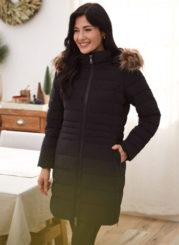 Nuage - Stretch Vegan Down Quilted Coat, Black,  outerwear, coat, Nuage, Laura exclusive, sustainable, stand collar, long sleeves, scuba cuffs, detachable hood, detachable faux fur, front zipper, wind guard, pockets, vegan down, vegan leather, side zippers, quilted, Technofill, stretch, water repellent, washable, fall winter 2021