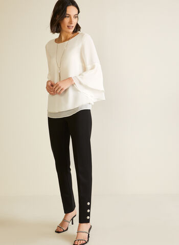 Flowy Blouse With Flared Sleeves, White,  fall winter 2020, metallic, layered, flared sleeves, round neck, holiday, blouse