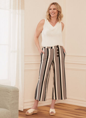 Stripe Print Gaucho Pants, White,  pants, gaucho, stripe print, button details, pull-on, spring summer 2021