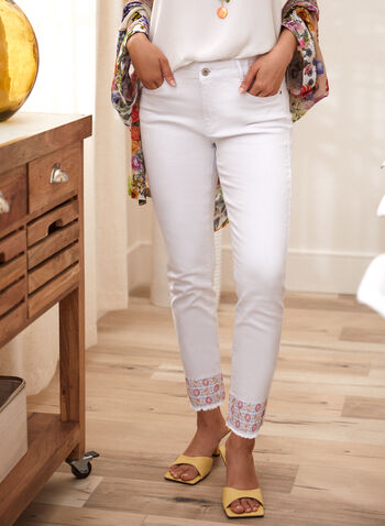 Charlie B - Embroidered Cuff Jeans, White,  spring summer 2021, denim, pants, bottoms, mid rise, zipper, metal, embroidery,