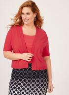 Boléro ouvert en tricot et bordures texturées, Rose, hi-res