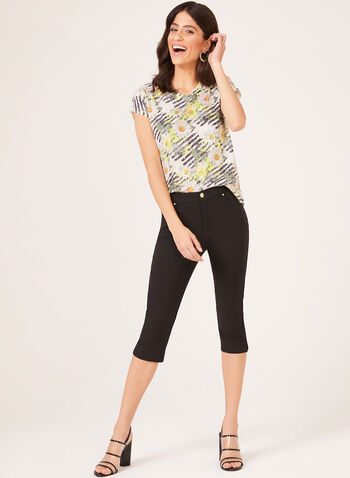 Floral Print Crystal Detail T-Shirt, Green, hi-res