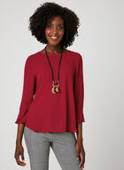Long Sleeve Crepe Blouse, Red, hi-res