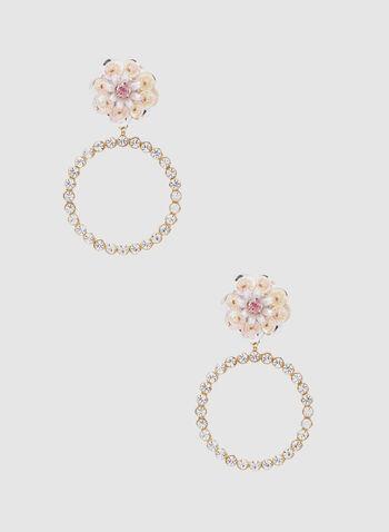 Hoop Dangle Earrings, Pink, hi-res