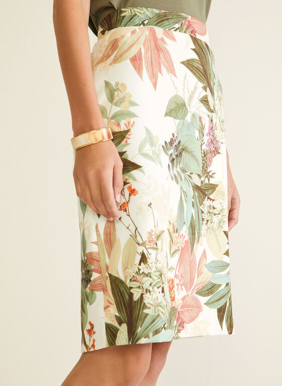 Floral Print Straight Skirt, White