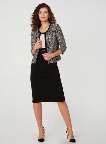 Printed Jacket & Dress Set, Black, hi-res,  fall winter 2019, dress jacket combo, long sleeve dress, 3/4 sleeves