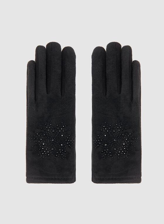 Crystal Detail Faux-Suede Gloves, Black