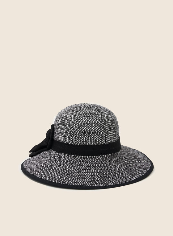 Bow Detail Straw Hat, Black