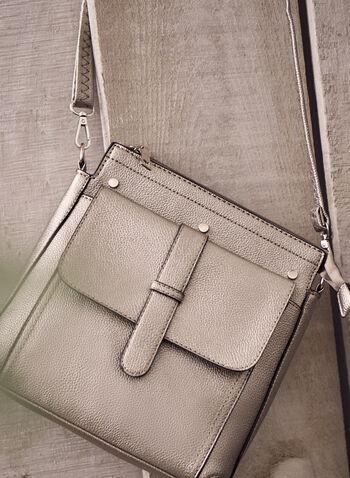 Sac à bandoulière et détail rivets , Gris,  sac à main, sacoche, sac, rivets, bandoulière, décoration, zips, tirettes, fermoirs, plusieurs compartiments, printemps été 2021