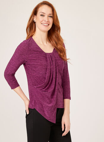 Heather Print Drape Effect Blouse , Multi, hi-res