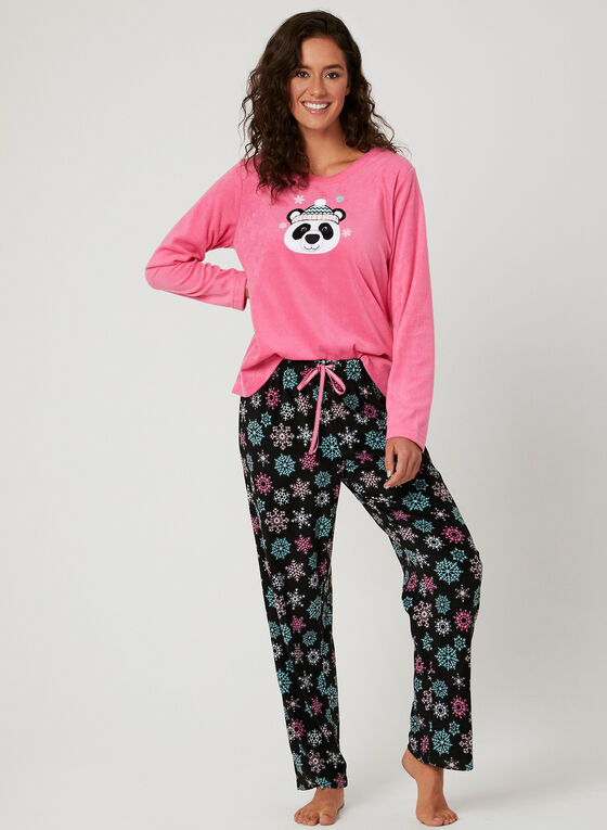 Pillow Talk - Pyjama 2 pièces en polaire motif panda, Gris, hi-res
