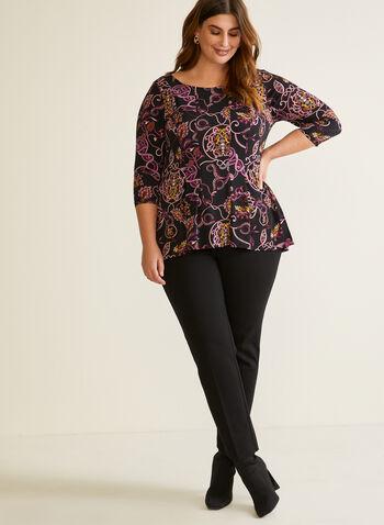 Paisley Print ¾ Sleeve Top, Purple,  fall winter 2020, top, 3/4 sleeves, blouse, paisley, asymmetric