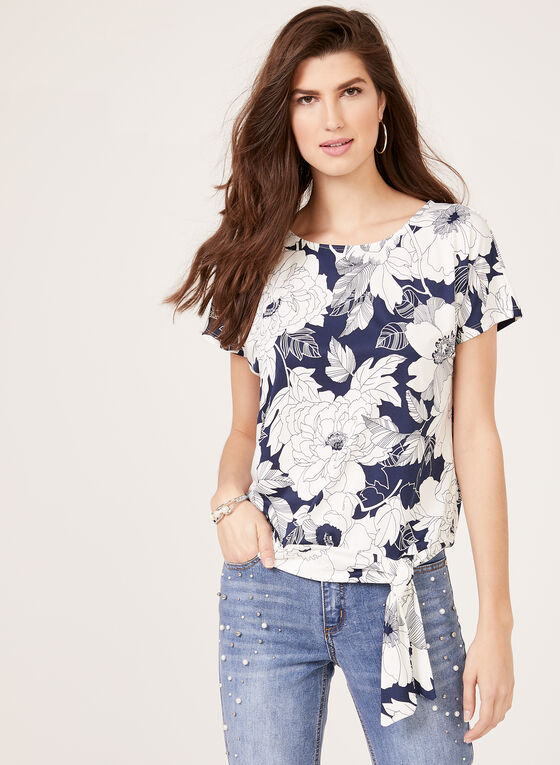 Short Sleeves Scoop Neck Top, Blue, hi-res