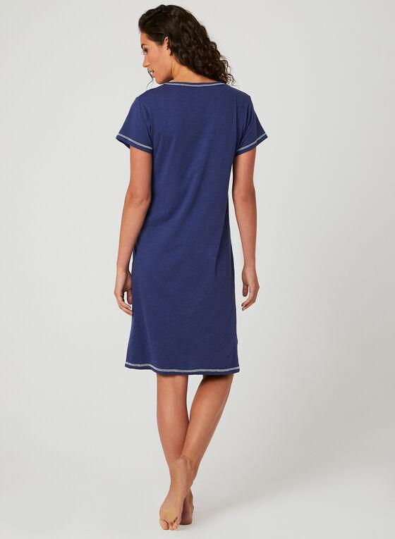 Bellina – Robe de nuit à broderies coeur , Bleu, hi-res
