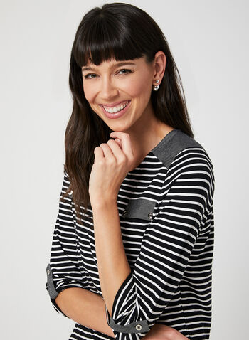 Stripe Print ¾ Sleeve Top, Black,  3/4 sleeves, spring 2019, summer 2019