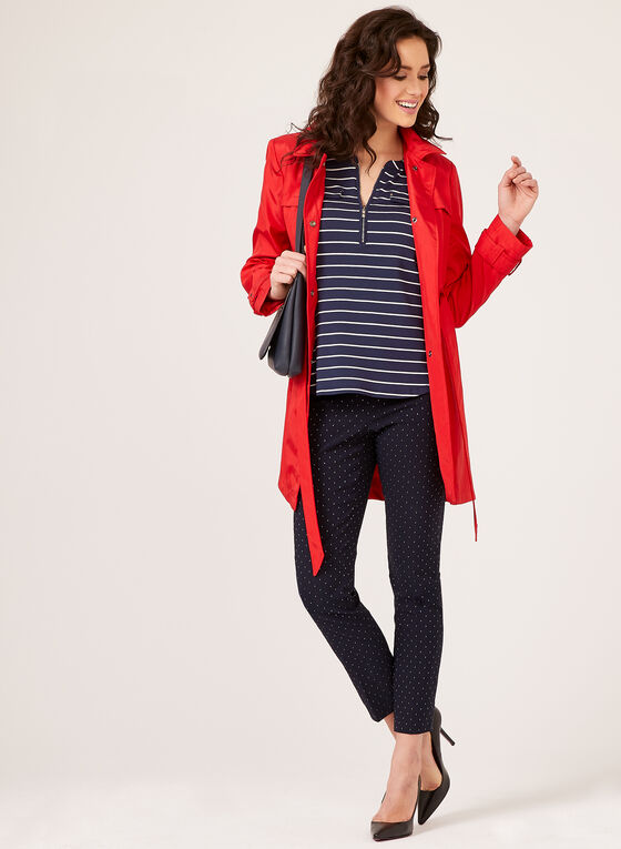 Striped Zipper Slit Neck 3/4 Sleeve T-Shirt, Blue, hi-res