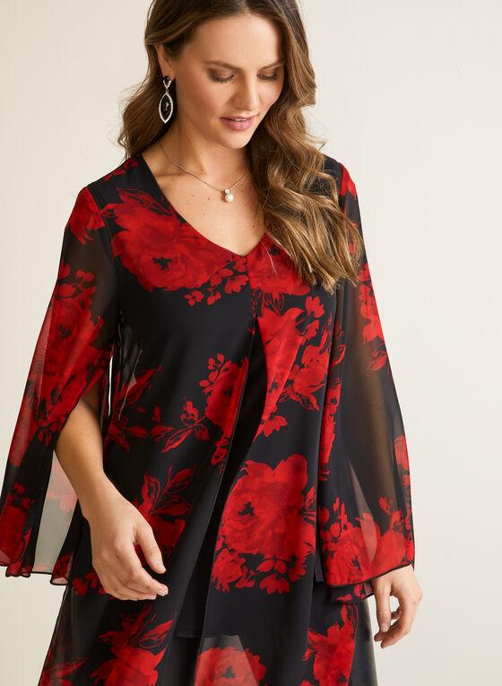 Compli K - Blouse tunique à motif floral, Noir