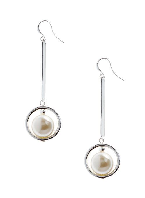 Pendants d'oreilles rigides baguettes et perles, Blanc cassé, hi-res