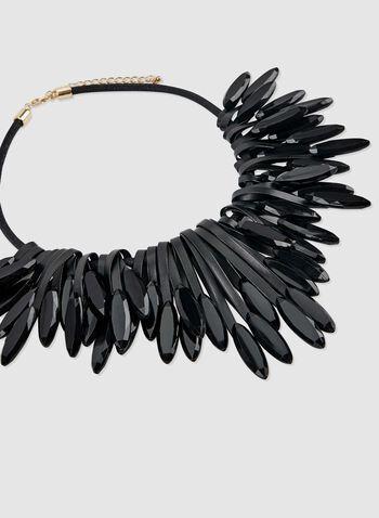 Collier en similicuir et pierres ovales à facettes, Noir, hi-res