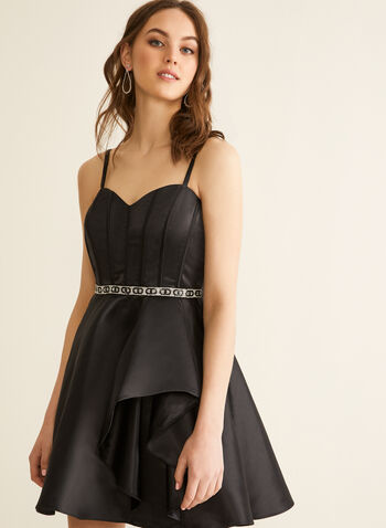 Corset Satin Dress, Black,  spring summer 2020, Spaghetti straps, sweetheart necklinesatin, crystal details, fit & flare dress