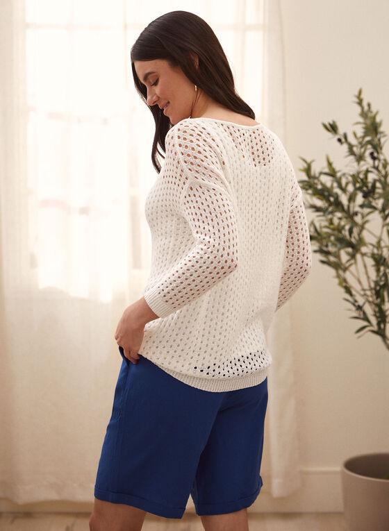 3/4 Sleeve Mesh Sweater, White