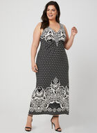 Tribal Print Maxi Dress, Black, hi-res