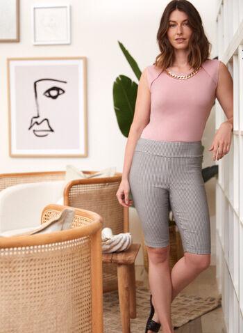 Houndstooth Pull On Shorts, Black,  spring summer 2021, made in Canada, shorts, bottoms, pull-on, houndstooth, check print, checkered, contrast, elastic waist, slim leg, bengaline