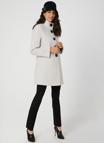 Wool Like A-Line Coat, Off White, hi-res,  fall winter 2019, wool, large buttons, pockets, Slit cuffs