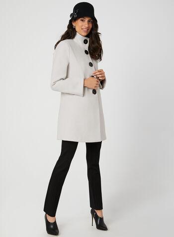 Manteau droit aspect laine , Blanc cassé, hi-res,  manteau, coupe droite, manches longues, boutons, poches, aspect laine, automne hiver 2019