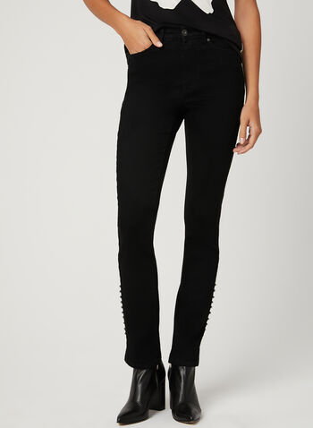Embroidered Modern Fit Jeans, Black, hi-res