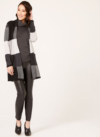 Alison Sheri - Checkered Double Knit Shawl Cardigan, Black, hi-res