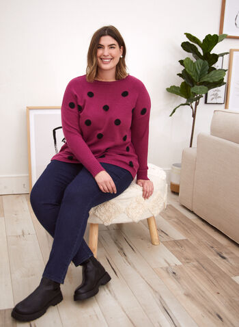 Sweater With Large Polka Dots, Pink,  fall winter 2020, sweater, knit, long sleeves, dolman sleeves, polka dot, holiday