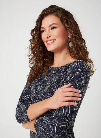 Glitter Sheath Dress, Blue, hi-res,  cocktail dress, sheath, 3/4 sleeves, glitter, fall 2019, winter 2019