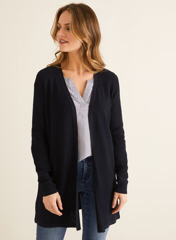 Open Front Long Sleeve Cardigan , Blue,  cardigan, long sleeve, open front, knit, Spring 2020