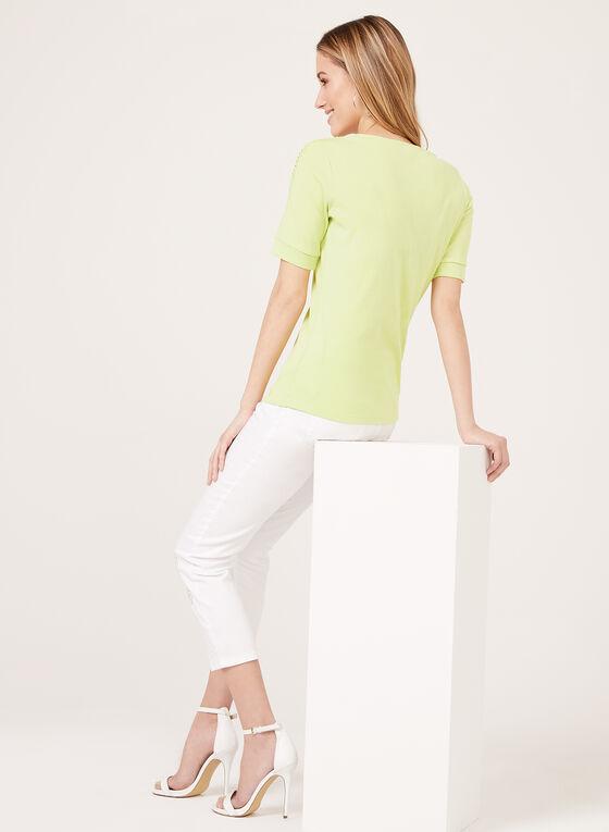 T-shirt col V avec crochet ajouré aux épaules, Vert, hi-res