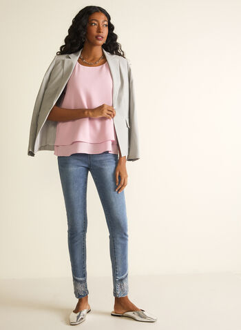 Sleeveless Crepe Blouse , Purple,  blouse, sleeveless, crepe, layered, spring 2020