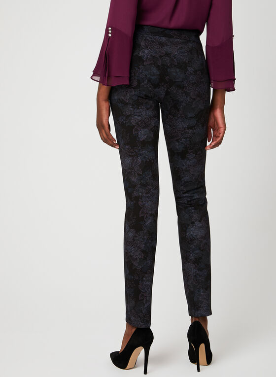 Pantalon fleuri pull-on coupe moderne , Bleu, hi-res
